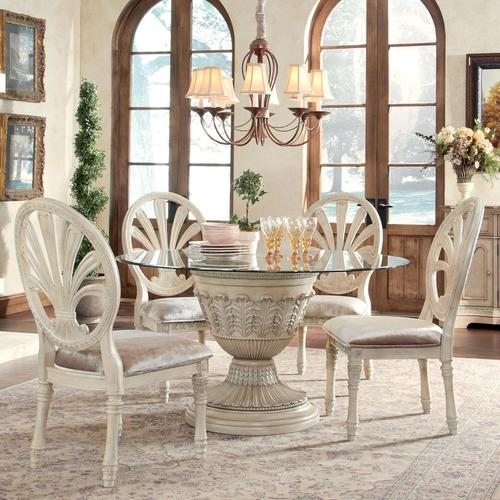 Ortanique 5-Piece Glass Top Table Set with Pierced Oval Back Chairs & Millennium Ortanique 5-Piece Glass Top Table Set with Pierced Oval ...
