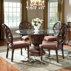 191835 Ledelle 5 Piece Glass Top Table Set With Pierced Oval Back Chairs