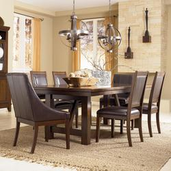 Holloway 7-Piece Extension Table Set w/ Faux Leather Arm Chairs & Side Chairs