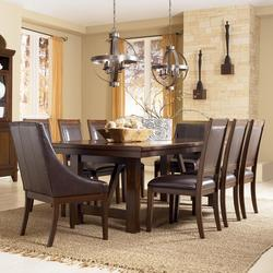 Holloway 9-Piece Extension Table Set w/ Faux Leather Arm Chairs & Side Chairs