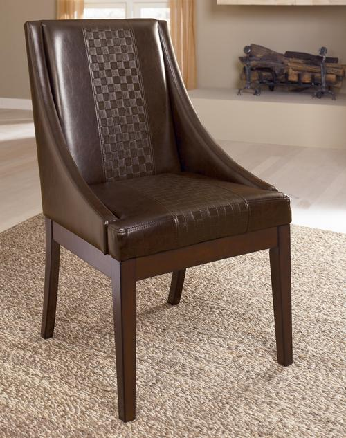 Holloway Dining Upholstered Arm Chair With Brown Faux Leather U0026 Swoop Arms