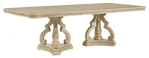 ortanique traditional dining table with double pedestal base