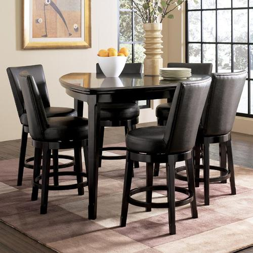 millennium emory 7 piece triangle pub table set with 6