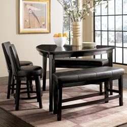 Emory 5-Piece Triangle Pub Table Set with Two 24 Inch Upholstered Swivel Bar Stool and 2 Double Backless Stools