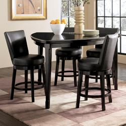 Emory 5-Piece Triangle Counter Height Table with 4 Upholstered Swivel Bar Stools
