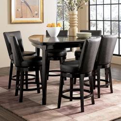 Emory 7-Piece Triangle Pub Table Set with 6 Upholstered Swivel Bar Stools
