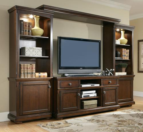 Millennium porter entertainment wall unit w large tv for Large tv wall units
