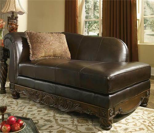 Millennium north shore dark brown upholstered leather chaise for Ashley furniture north shore chaise