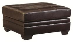 Beenison - Chocolate Square Oversized Accent Ottoman with Accent Stitching