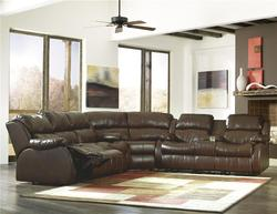 DuraBlend - Café Motion Sectional with 4 Recliners and Built-in Storage