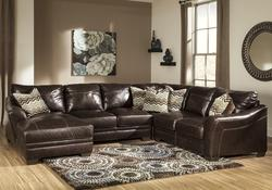Beenison - Chocolate 4-Piece Leather Match Sectional with Left Chaise