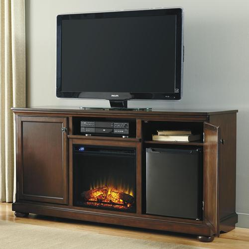 Millennium Porter Transitional Cherry 60 39 Large Tv Stand With Fireplace Insert Electric Cooler