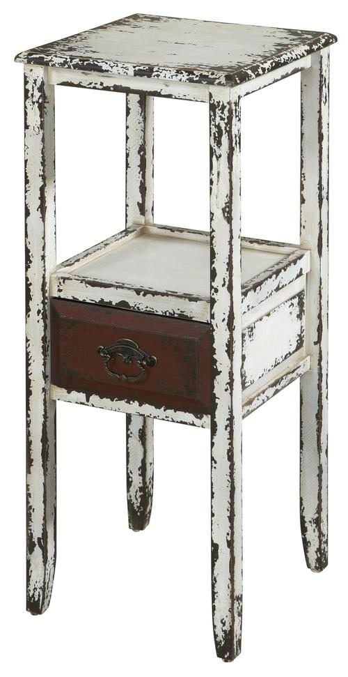 Parcel 1 Drawer Distressed White Accent Table