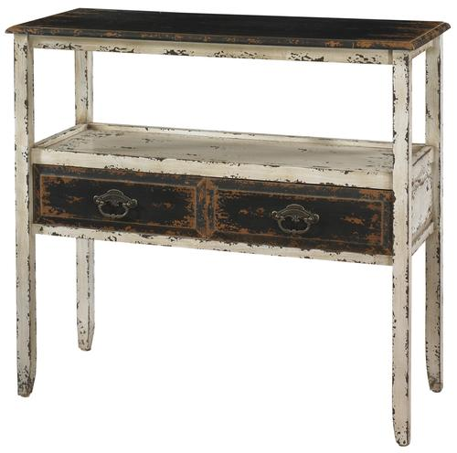 Parcel Distressed White Accent Table With 2 Drawers