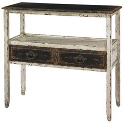 Perfect Parcel Distressed White Accent Table With 2 Drawers