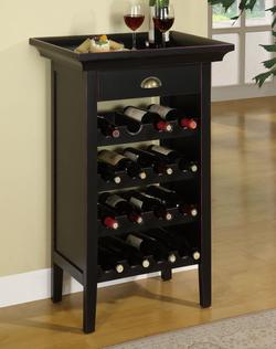 Contemporary Black Stylish Wooden Wine Cabinet