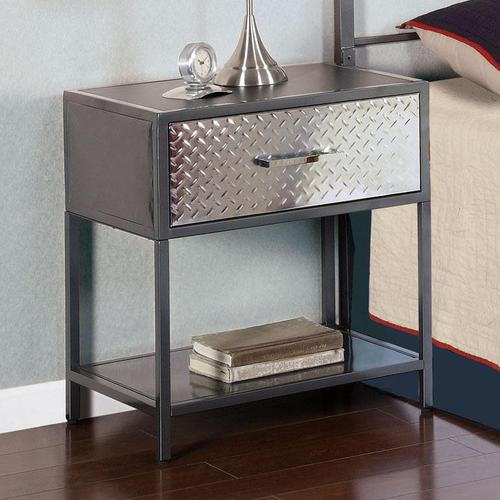 powell monster metal nightstand with diamond plated drawer