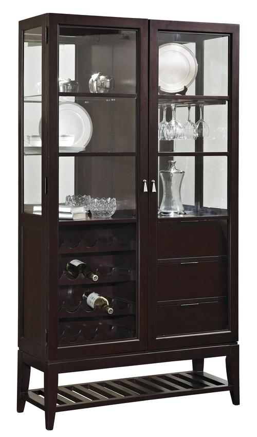 pulaski furniture curios bar curio w wine bottle racks