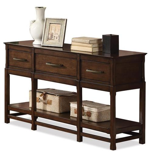 tranquility three drawer console table w shelf