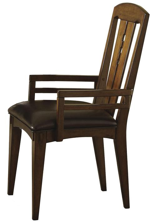 Riverside furniture craftsman home dining arm chair with for Leather dining chairs with arms