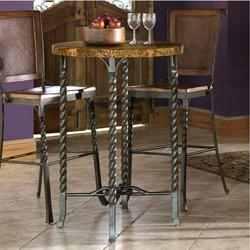 Wonderful Medley Marbletop Pub Table With Metal Legs And Two Bar Stools