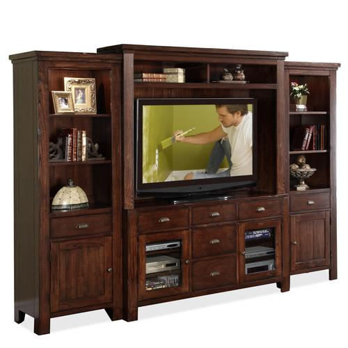 Castlewood Wall Entertainment Unit with Console Hutch and 2 Storage Piers  sc 1 st  Luis Furniture Style & Riverside Furniture Castlewood Wall Entertainment Unit with Console ...
