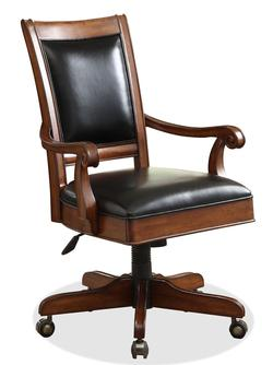Bristol Court Caster Equipped Wooden Desk Chair with Leather Covered Seat