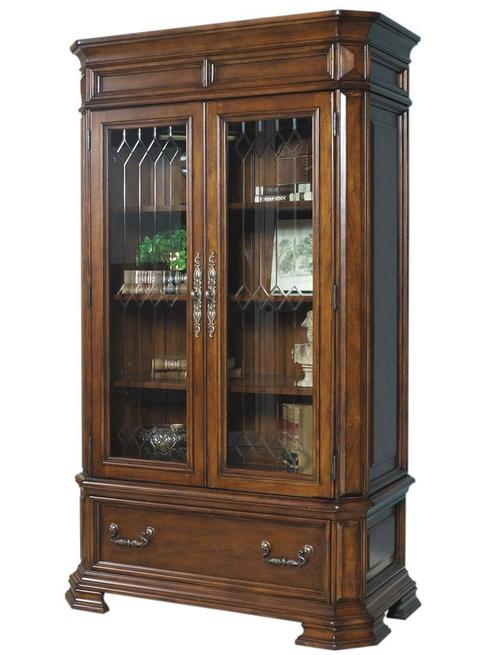 madison closed bookshelf with 2 glass doors and 1 base drawer - Samuel Lawrence Furniture