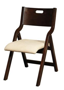 Homework Wood Folding Chair w/ Upholstered Seat