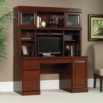 Home Office Double Pedestal Desk From Sauder 552 00 Add To Cart Heritage Hill Traditional Clic Cherry Computer Credenza With Hutch