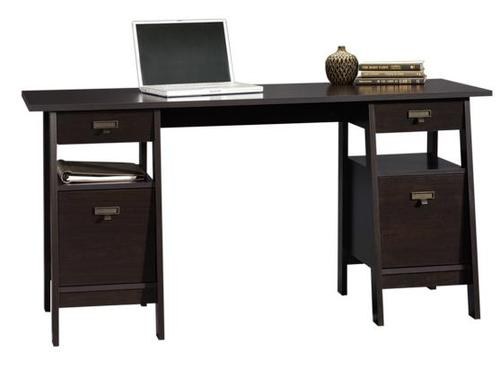 sauder home office contemporary executive trestle desk
