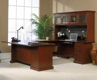 Heritage Hill Traditional U Shaped Executive Desk Work Center With Hutch