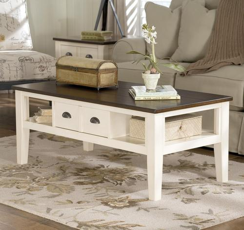 Whitesburg Two Tone Rectangular Cocktail Table With 2 Shelves U0026 Drawer