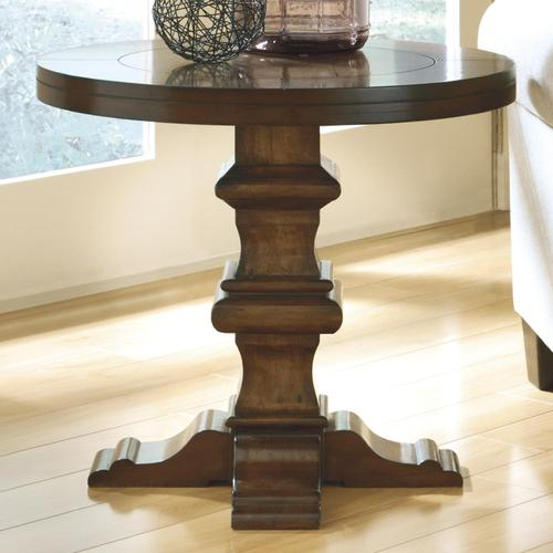 30000 Add To Cart Gaylon Round End Table With Shaped Pedestal Base