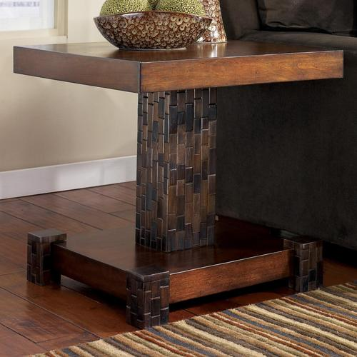 Brockland Wood Block Mosaic Square End Table