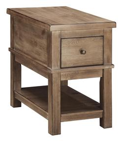 Signature Design by Ashley Pinnadel Rustic Pine Rectangular End Table with Power Strip/USB Charging