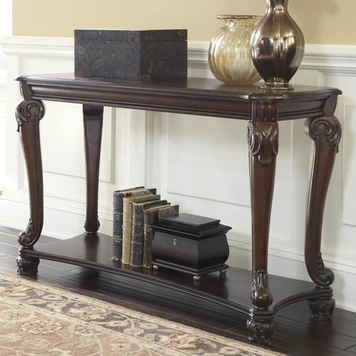 Signature design by ashley norcastle traditional sofa for Sofa table leg height