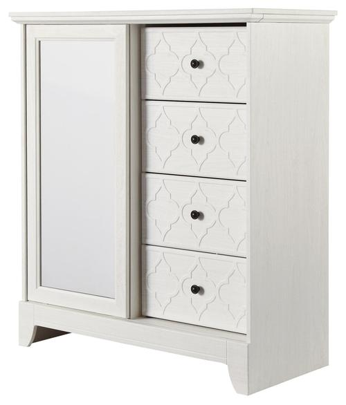 Beau Iseydona Vintage Casual White Dressing Chest With Sliding Mirror Door