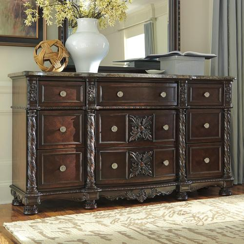 Signature design by ashley laddenfield traditional dresser Ashley furniture marble top bedroom set