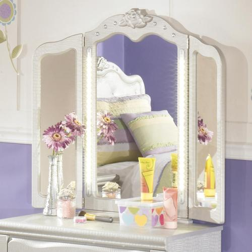 Tri Fold Vanity Mirror With Lights Best Signature Design By Ashley Zarollina TriFold Vanity Mirror With LED