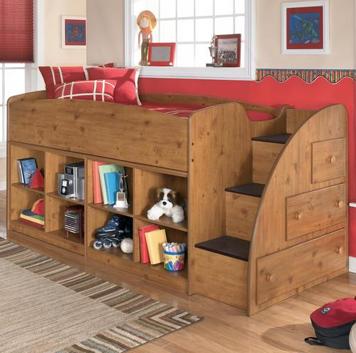Stages Twin Loft Bed with Right Storage Steps and Bookcases & Signature Design by Ashley Stages Twin Loft Bed with Right Storage ...
