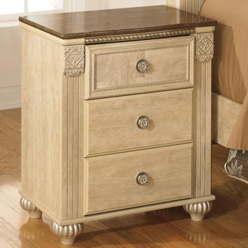 Signature design by ashley saveaha three drawer night Ashley furniture marble top bedroom set