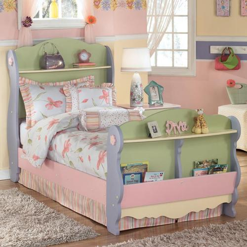 Doll House Twin Sleigh Bed With 2 Shelves And Magazine Rack