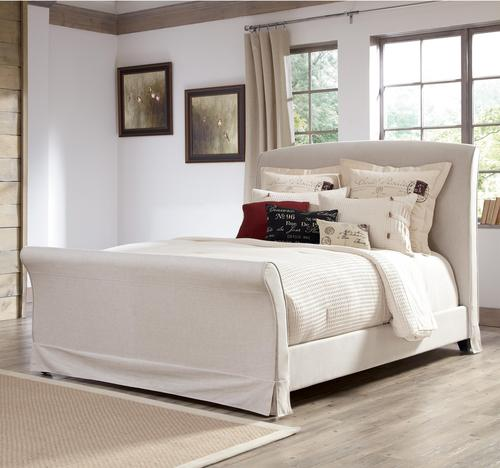 burkesville queen upholstered sleigh bed w removable slipcover - Upholstered Sleigh Bed