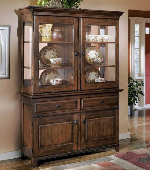 signature design by ashley larchmont display china cabinet and buffet. Black Bedroom Furniture Sets. Home Design Ideas