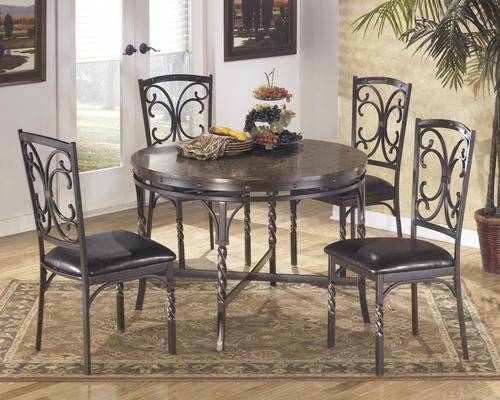 Brindleton 5 Piece Round Metal Dining Table Set