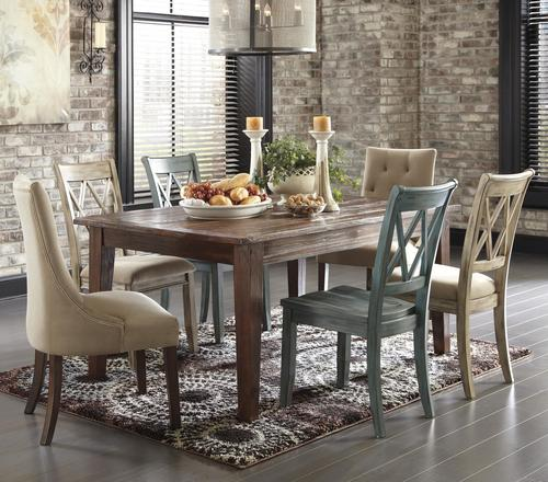 Good Mestler 7 Piece Table Set With Mix Of Side Chairs