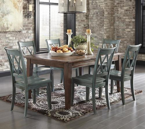 Mestler 7-Piece Table Set with Antique Blue Side Chairs - Signature Design By Ashley Mestler 7-Piece Table Set With Antique