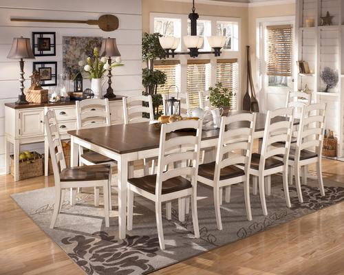 Whitesburg 11 Piece Two Tone Cottage Rectangular Extension Table Set
