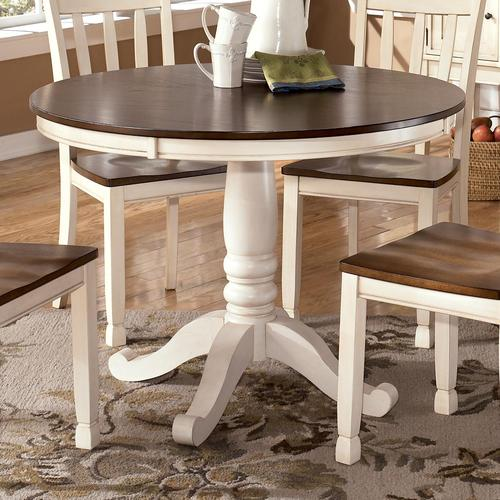 Design By Ashley Whitesburg Two Tone Round Table With Pedestal Base
